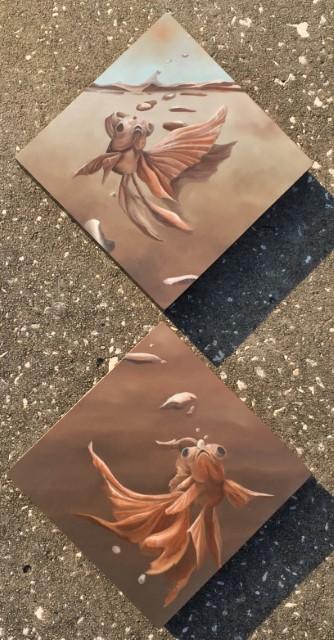 Companions Diptych, 16 x 8